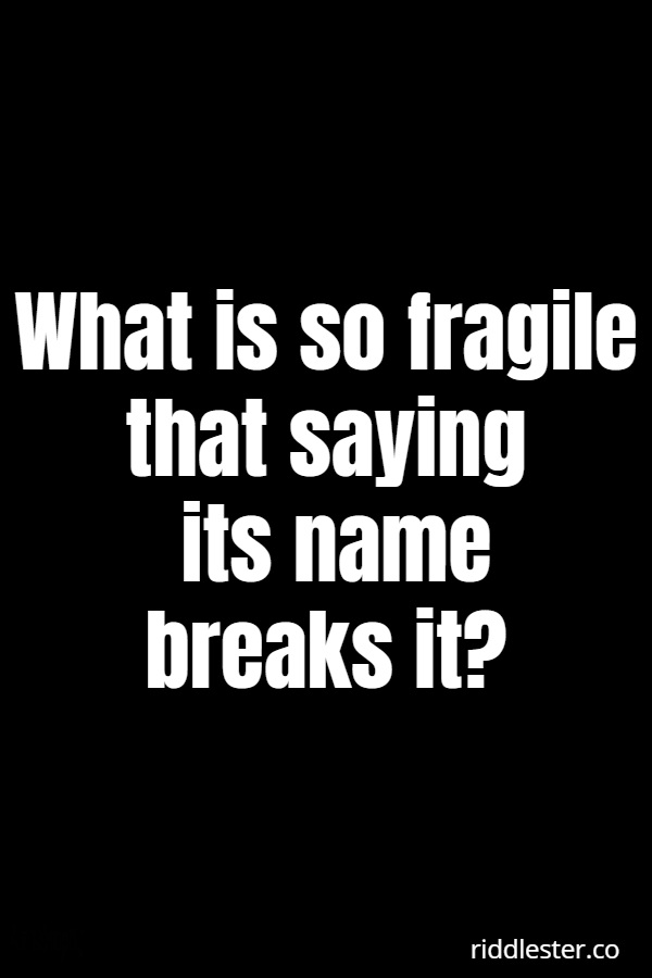 what is so fragile that sound can destroy it riddle