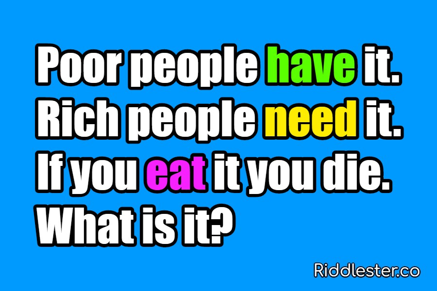 Poor people have it Rich people need it Riddle