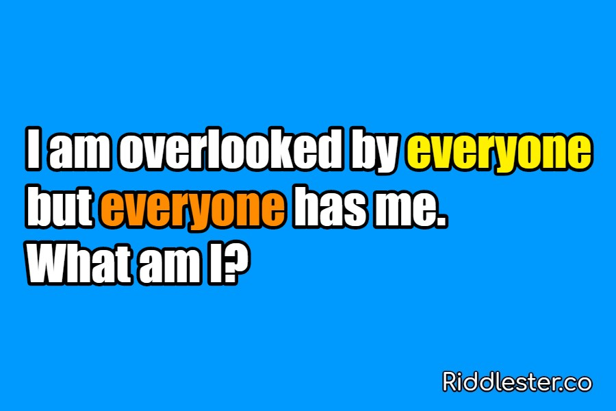 I am overlooked by everyone but everyone has me Riddle