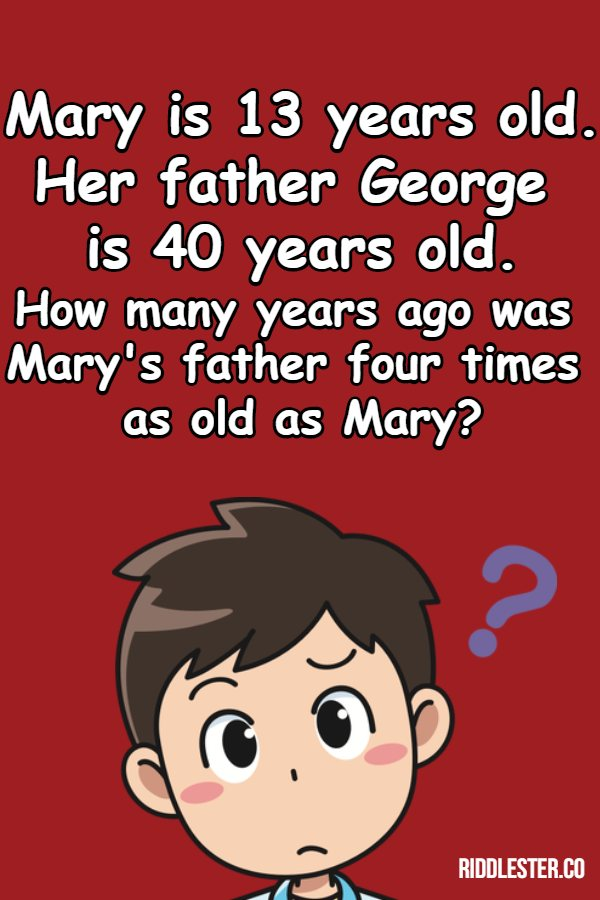 Mary is 13 years old Her father George is 40 years old