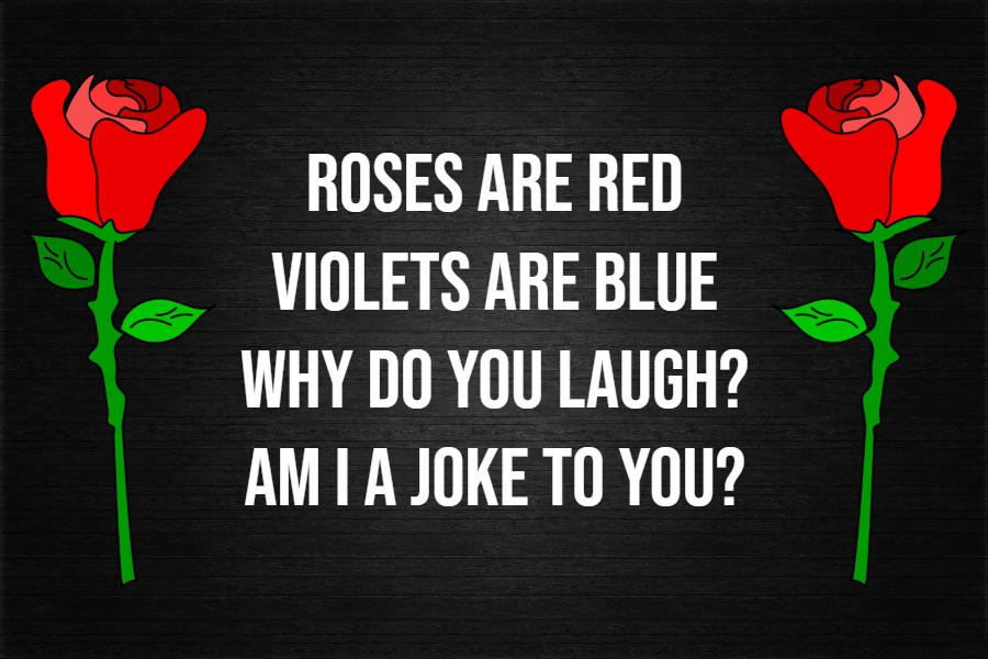 Roses are red Violets are blue love is passionate Just not with you!